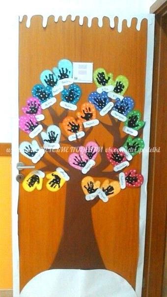 Новогодние поделки - шапочки и рукавички Интересна идея деревца с рукавичками - чтобы не замерзло