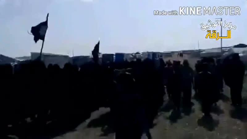 الحسكة مظاهرة في اول ايام عيد الفطر لنساء واطفال داعش داخل مخيم الهول بريف الحسكة