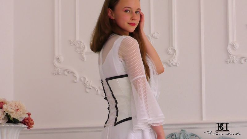 Model Hina white dress present, catwalk, posing agency Brima.d