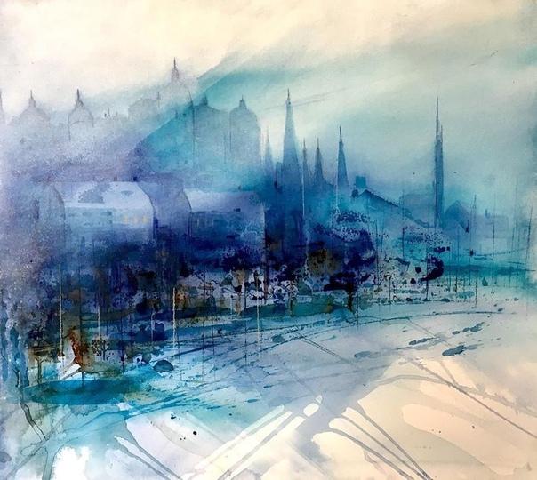 Вдохновленная живописными сценами Стокгольма, шведская художница Гуннель Мохейм запечатлела свой родной город в красочных акварельных картинах Талантливая женщина работает в свободном стиле,