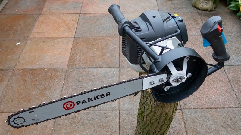 Brushcutter hack chain saw attachment