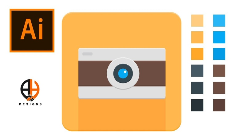How to make material design camera app icon in Adobe Illustrator CC 2020 Tutorial