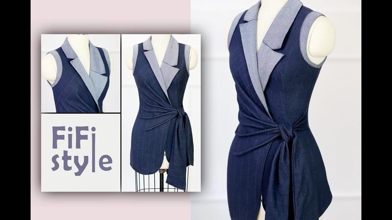 FiFi Style Thiết kế áo cổ Danton bất đối xứng thắt nơ eo
