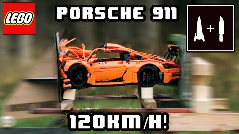 LEGO PORSCHE -VS- 120KMH ROCKET SLED (Recreating the Mythbusters vanishing car episode)