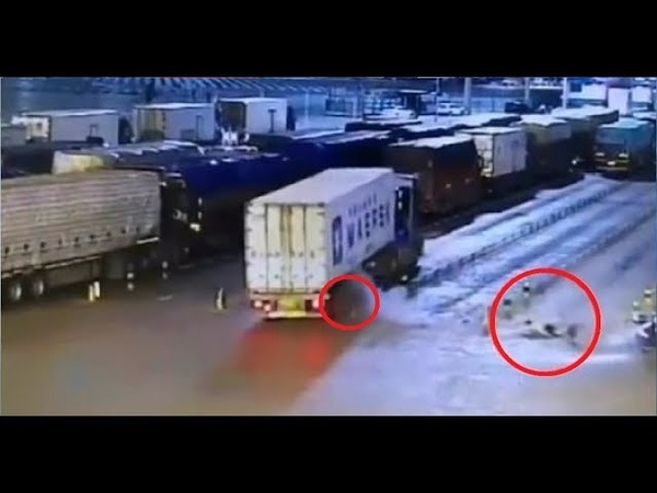 Moment tyre on truck explodes knocking man to the ground in China