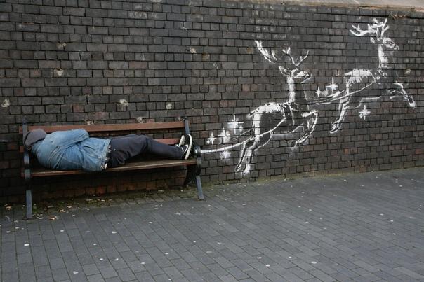 Бэнкси нарисовал рождественско-социальное граффити в Бирмингеме Бэнкси представил новое рождественско-социальное граффити в городе Бирмингем в Великобритании, об этом художник сообщил в своем