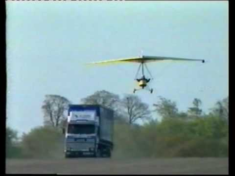 Flexwing microlight lands on truck