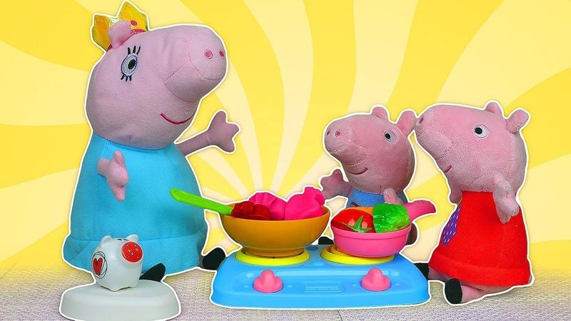 ¡Cocinando con Mamá Pig George encuentra verdura y fruta Historias infantiles de Peppa Pig