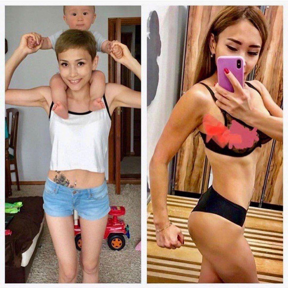 Как круто девушка привела себя в форму!