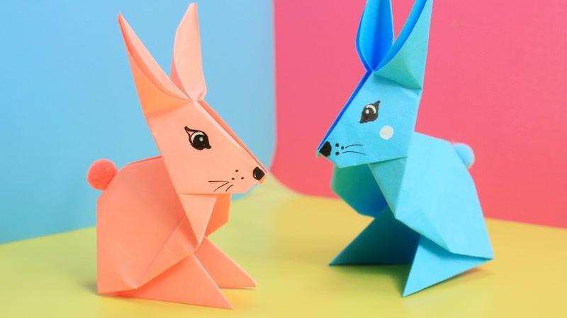 Заяц из бумаги Оригами зайчик Поделка на Пасху