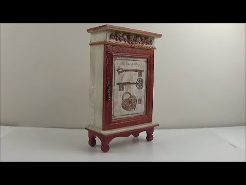 How to mini wood cabinet decoupage Ντεκουπάζ σε μικρού ξύλινου ντουλαπάκι