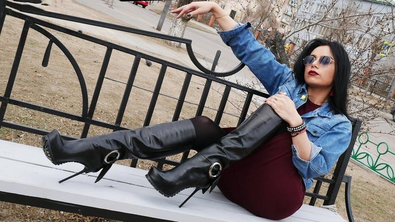 Kristina's Gianmarco Lorenzi tractor platform high heels black leather boots Size EU 38 US 7 5