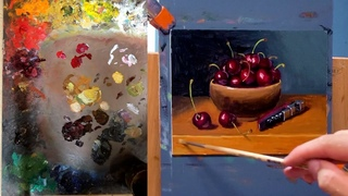 How to quickly paint cherries with oil paint with thick strokes demonstration by Aleksey Vaynshteyn