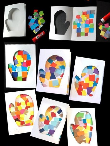 Открытка варежка Чудесная идея открытки! Сделать такую новогоднюю открытку очень просто даже маленькому ребёнку при небольшой помощи