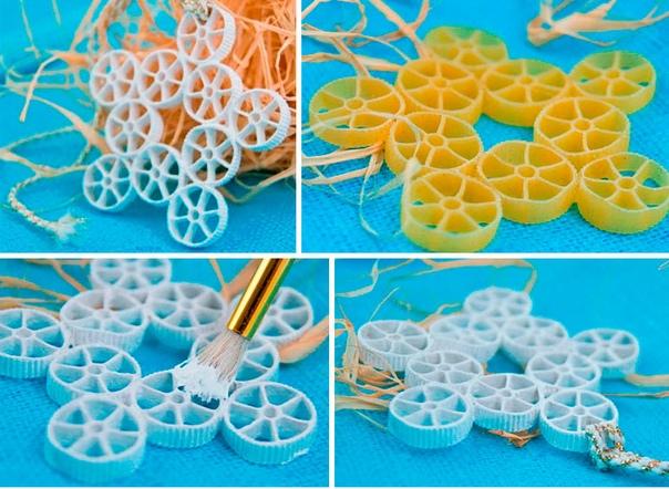 В продолжение темы работы с макаронами !!! понадобится: макароны подходящей формы, краска, кисточка, клеевой пистолет, ленточка для подвешивания.Ход работы:Выложите макароны в форму