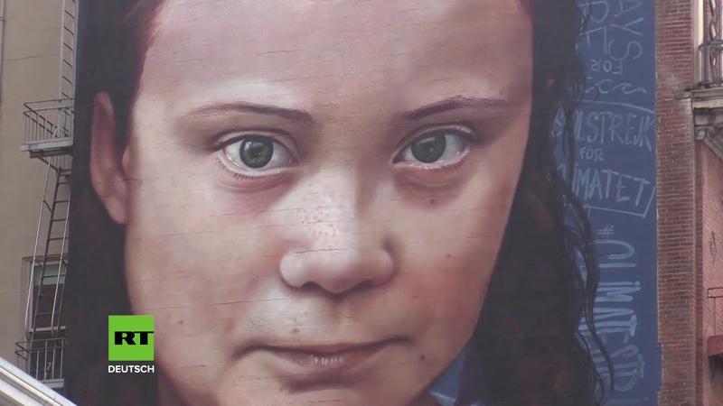 USA: Klima-Bewusstsein der Passanten stärken – Riesenwandmalerei von Greta Thunberg veröffentlicht