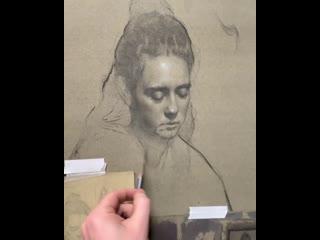 Процесс работы на рисунком от Тайлера Берри