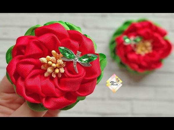 Летние резиночки с интересным лепестком Канзаши МК Summer elastic bands with an interesting petal