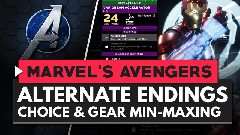 MARVEL'S AVENGERS Alternate Endings Player Choice Gear Min Maxing