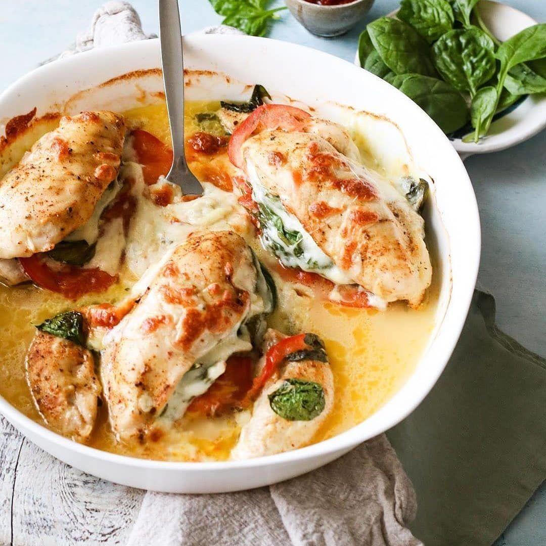 Куриное филе со шпинатом и сыром