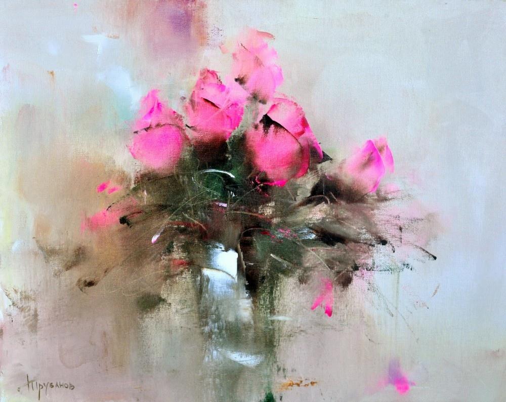 Живописец Виталий Трубанов (Vitaly Trubanov) пишет очень необычные цветочные натюрморты.