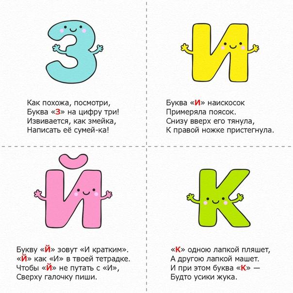 СТИШКИ-ЗАПОМИНАЛКИ ПРО БУКВЫ Обучающие кapточки для детейЛюбое правило, даже самое сложное, достаточно облачить в стихотворную форму, чтобы оно запомнилось быстрее и лучше. Так же с помощью