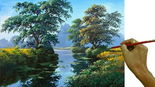 Acrylic Landscape Painting in Time-lapse / The River's Water Reflections / JMLisondra