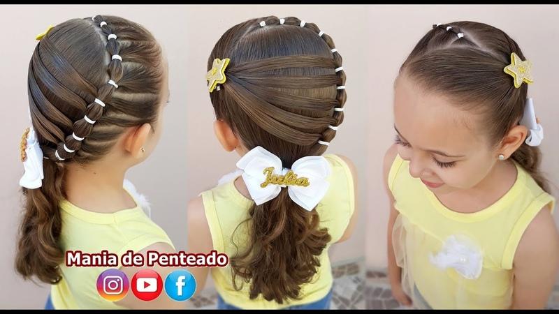 Penteado Infantil com Ligas para Natal e Ano Novo Christmas Hairstyle with Rubber Band for Girls