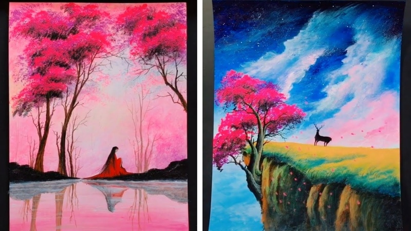 5 Easy Cherry Blossom Scenery Paintings Ideas For Beginners - Acrylic Painting