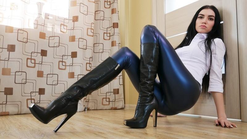 Nana's Gianmarco Lorenzi chromed steel square toe platform high heels black leather boots Size 36