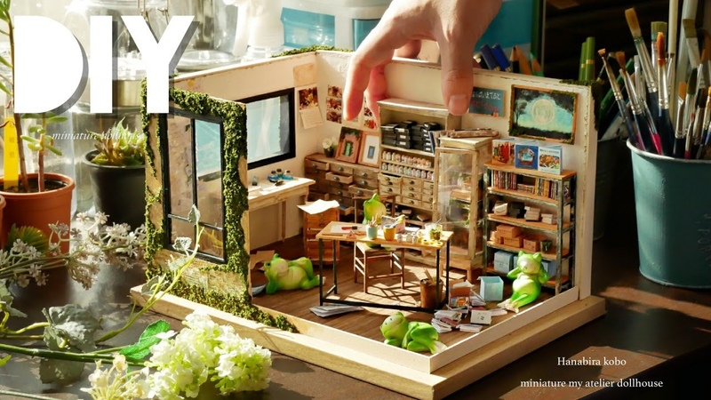 DIY☺︎miniature my atelier dollhouse ミニチュアHanabira工房の仕事部屋 Retro antique furniture レトロな家具の作り方~