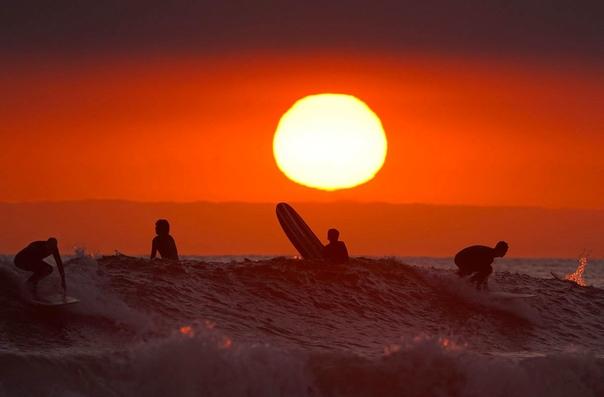 Серферы ловят волну за несколько часов до полного закрытия пляжей Ньюпорт-Бич, Калифорния, США. По требованию губернатора с 1 мая жителям штата было запрещено появляться на пляжах и в парках.
