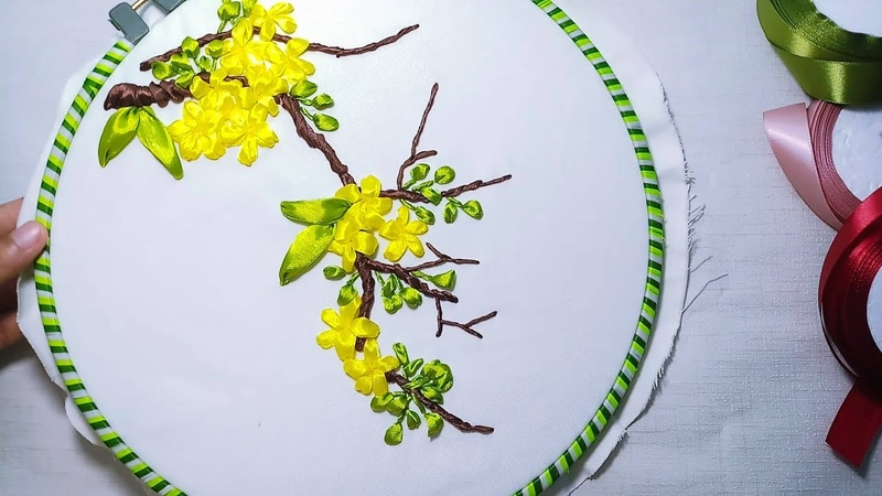 Hand Embroidery Ribbon Embroidery Apricot Blossom Thêu hoa mai bằng ruy băng MAYA56